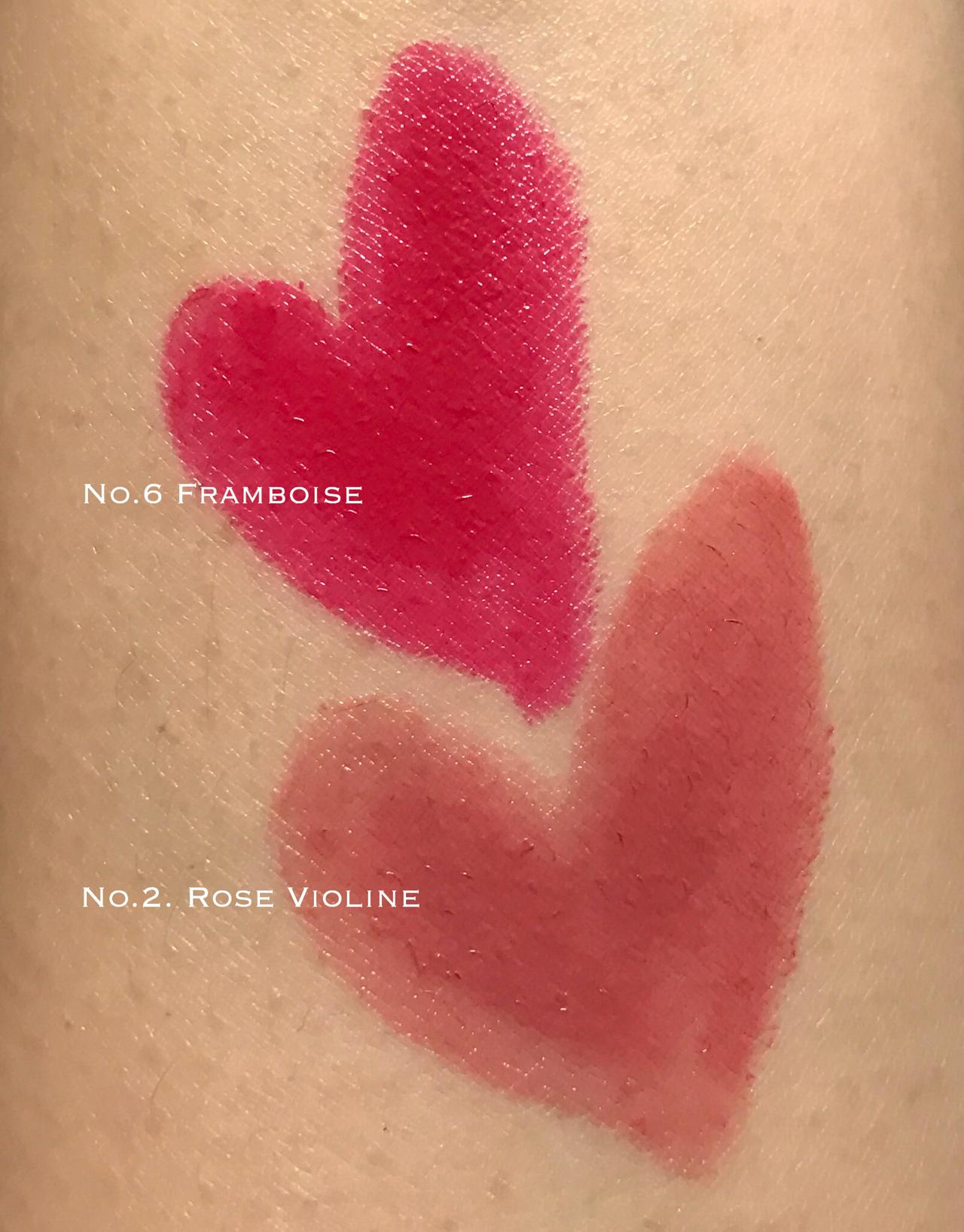 Chanel Le Rouge Crayon de Couleur Rose Violine & Framboise swatches