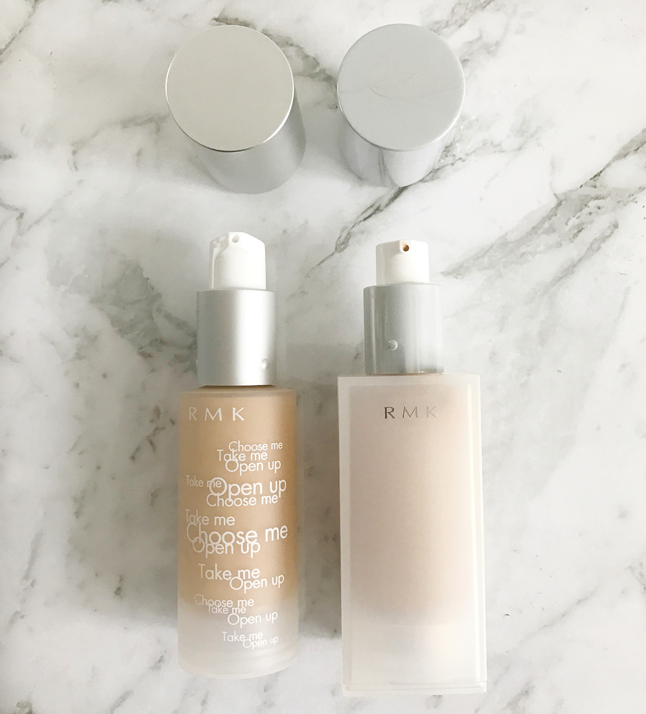 Comparison of RMK Gel Creamy Foundation packaging