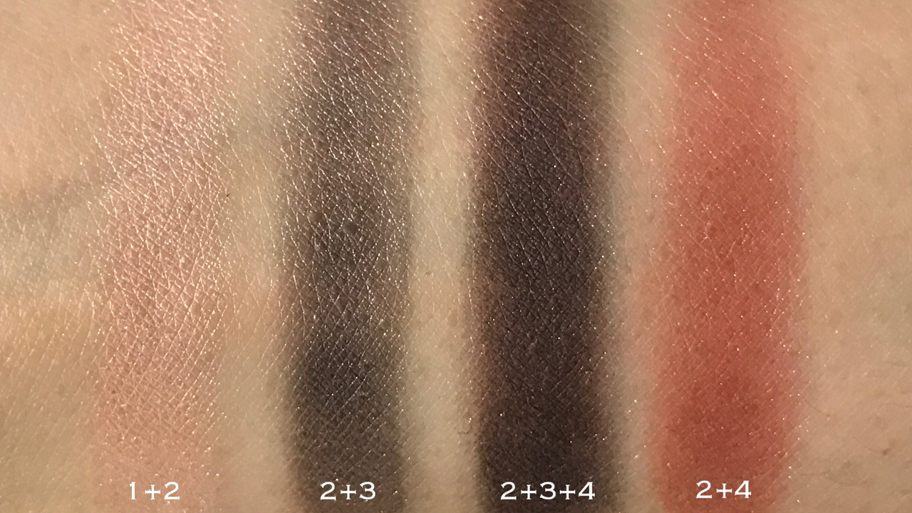 SUQQU Designing Color Eyes 104 Natsusango blended swatches