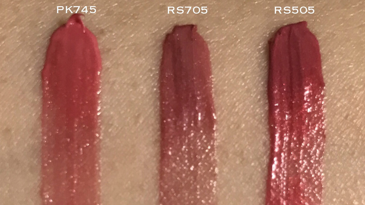 Shiseido Maquillage Watery Rouge PK745 RS705 RS505 swatches