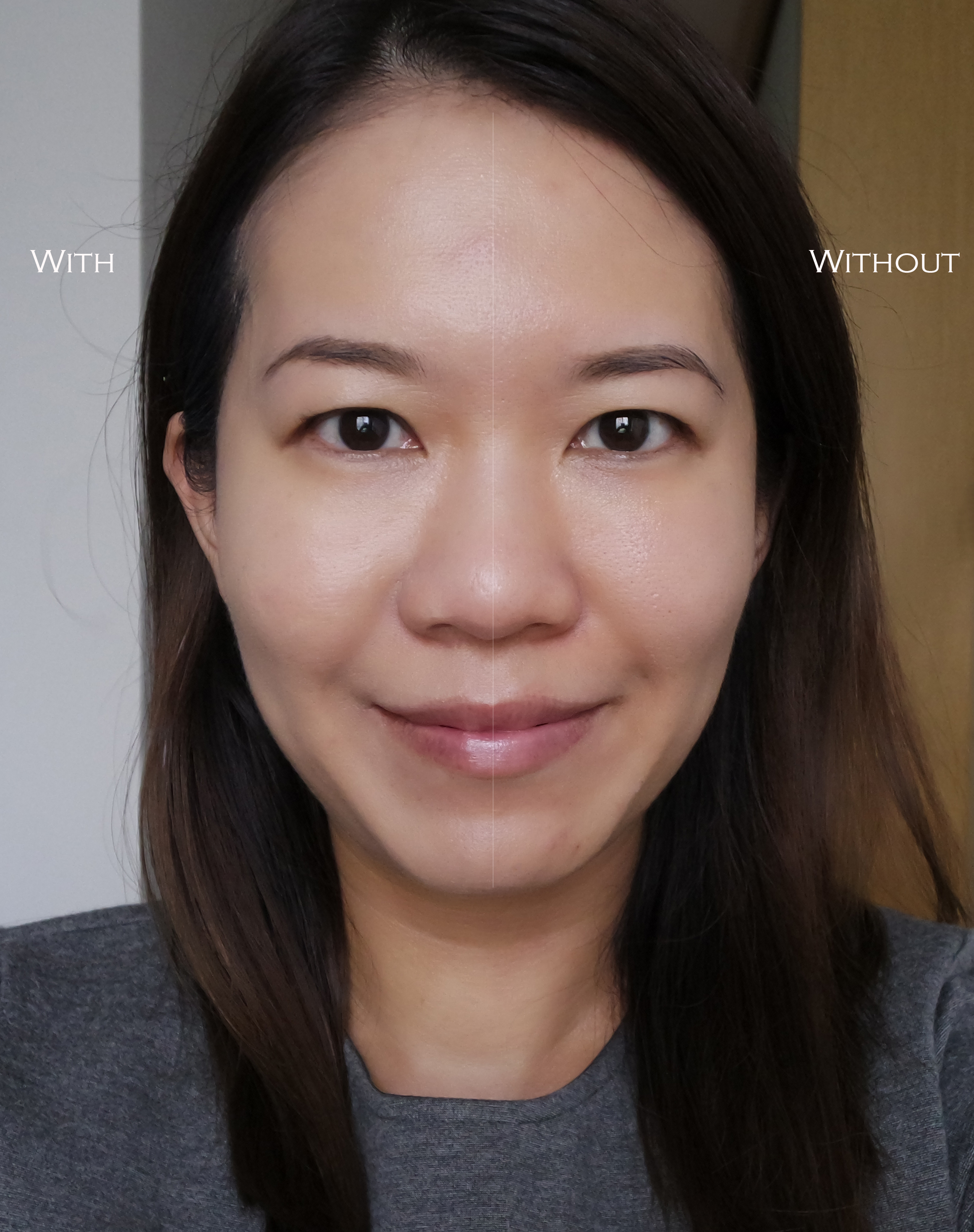 Shiseido Synchro Skin Glow Foundation before after effects comparison