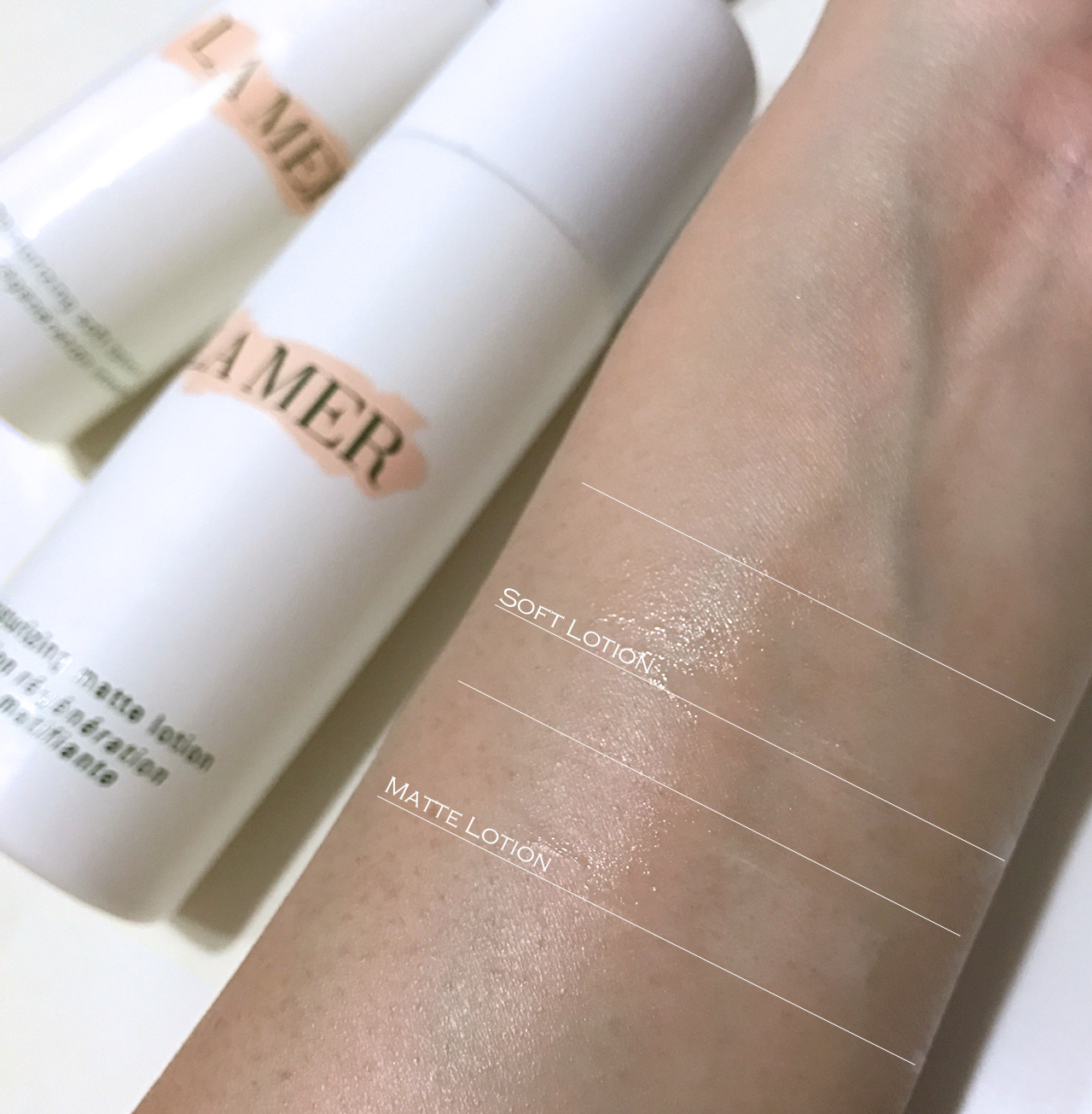 La Mer Moisturizing Matte Lotion vs. Soft Lotion swatch comparison
