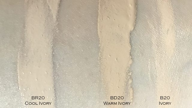YSL All Hours Foundation swatch comparison of different undertones