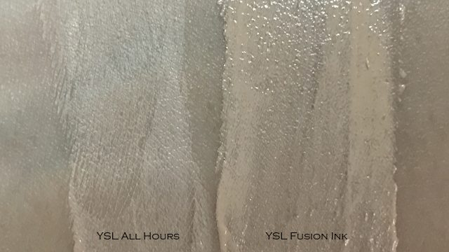 YSL All Hours Foundation swatch comparison against Fusion Ink