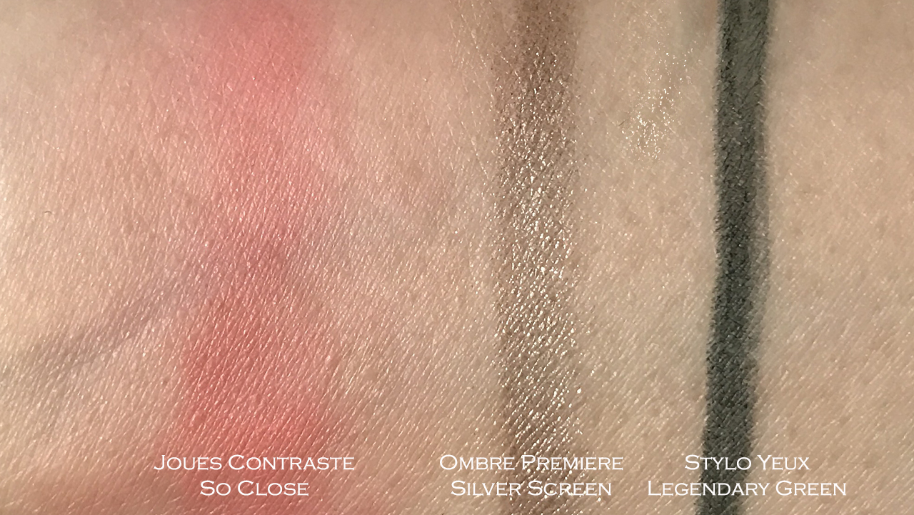 Chanel Joues Contraste So Close, Ombre Premiere Silver Screen, Stylo Yeux Legendary Green swatches