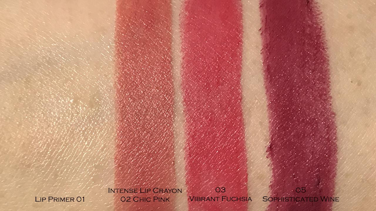 Kanebo Lip Primer & Intense Crayon Rouge swatches