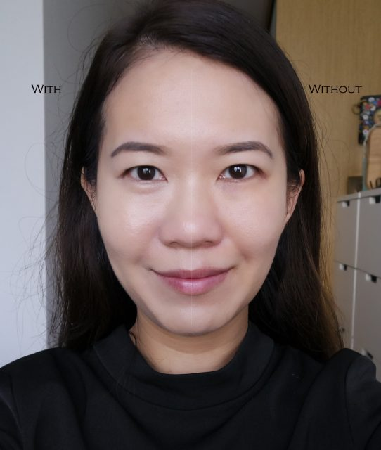 Estee Lauder Double Wear Nude Foundation before and after comparison shot