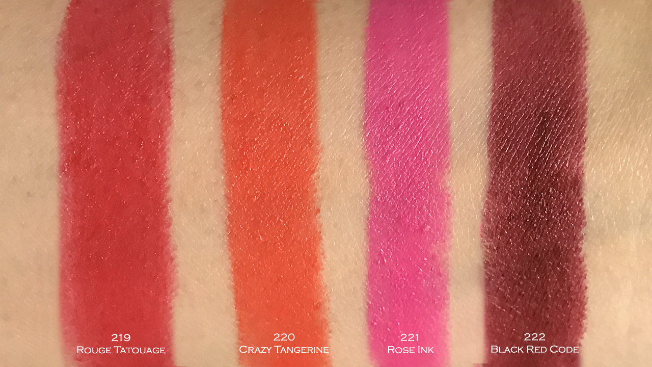 YSL Rouge pur Couture The Mats swatches
