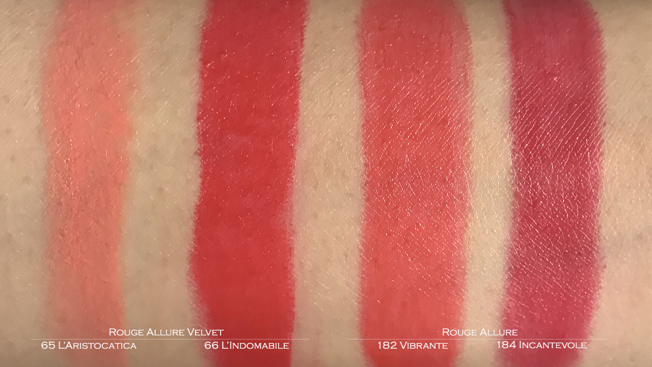 Chanel Rouge Allure & Rouge Allure Velvet swatches
