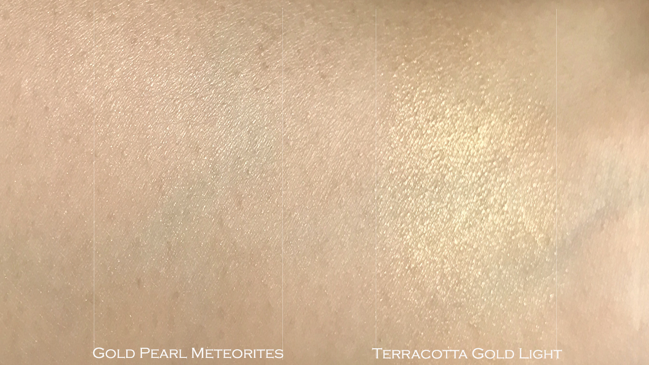 Guerlain Gold Pearl Meteorites & Terracotta Gold Light swatches
