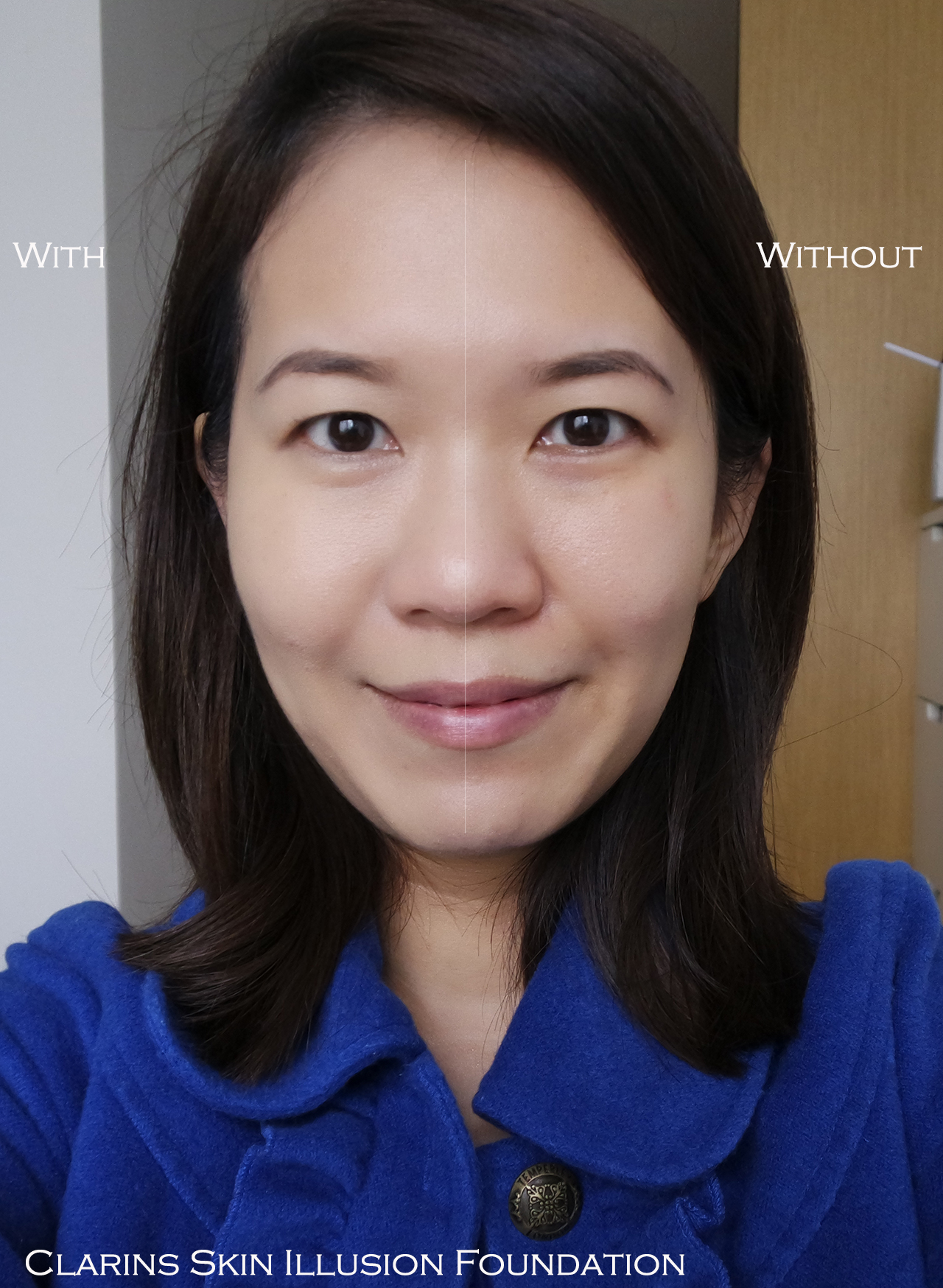 Clarins Skin Illusion Foundation before after comparison