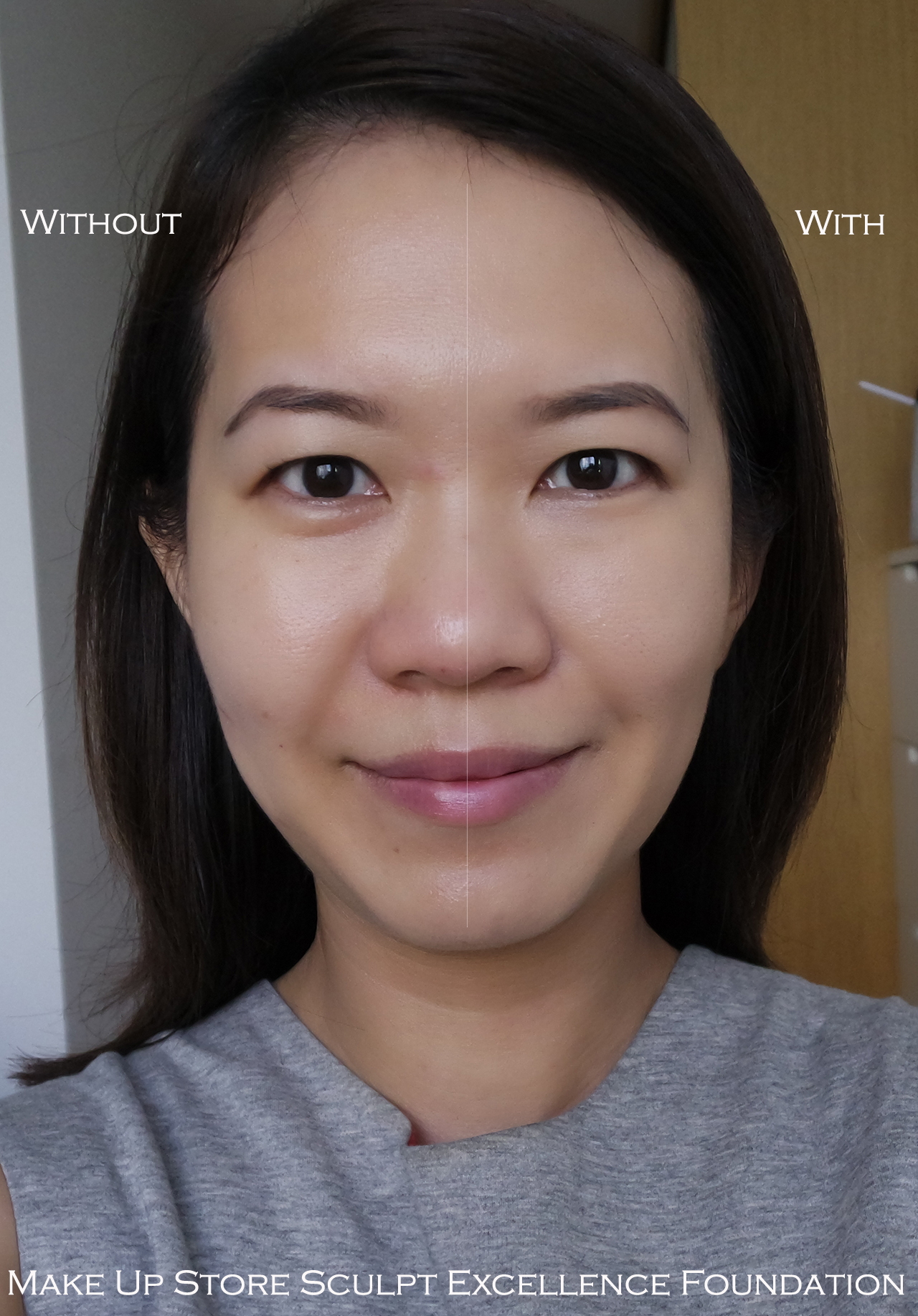 Make Up Store Sculpt Excellence Foundation before after comparison