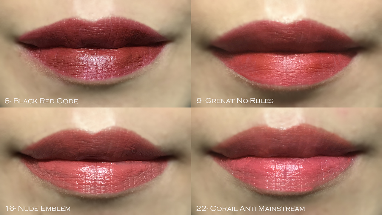 YSL Tatouage Couture lip swatches