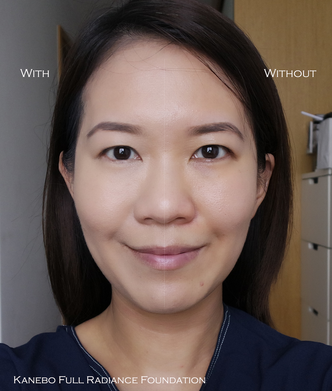 Kanebo Full Radiance Foundation before after comparison