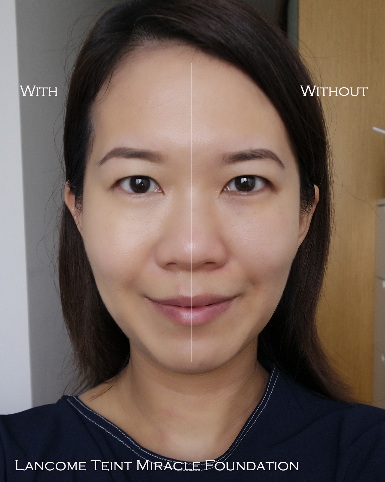 Lancome Teint Miracle Foundation before after comparison