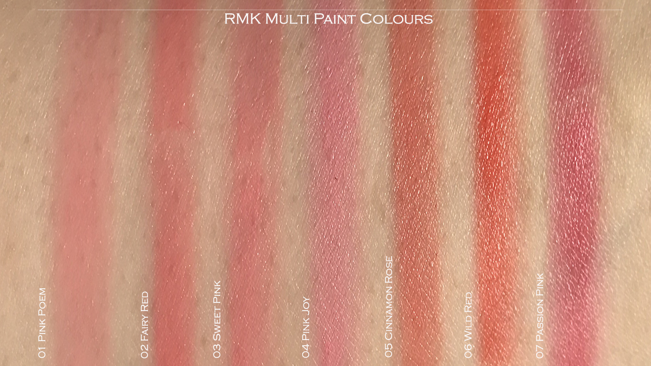 RMK Multi Paint Colours swatches