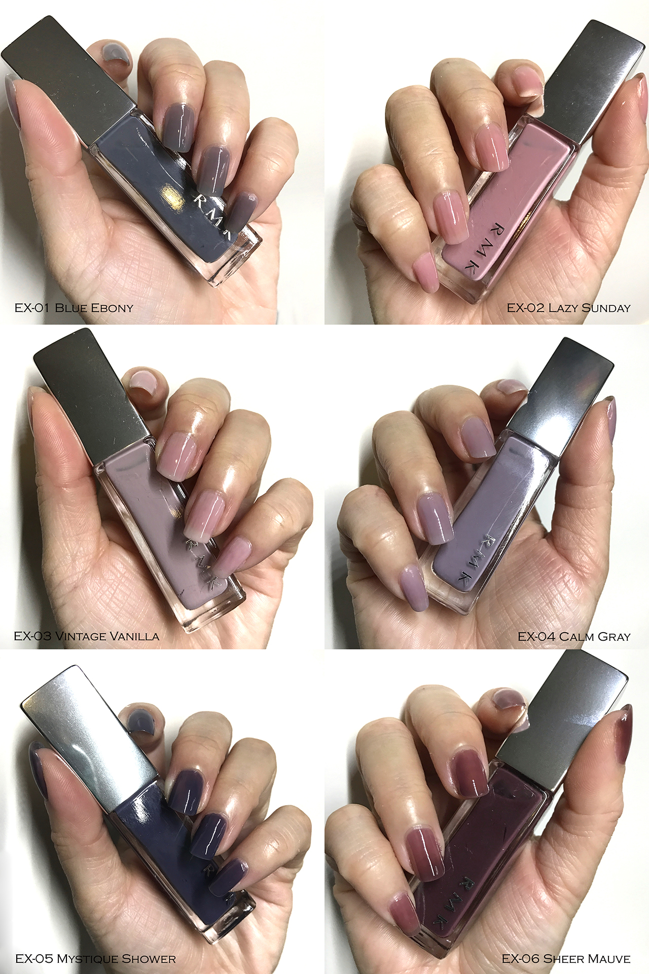 RMK Nail Polish swatches for Spring 2018
