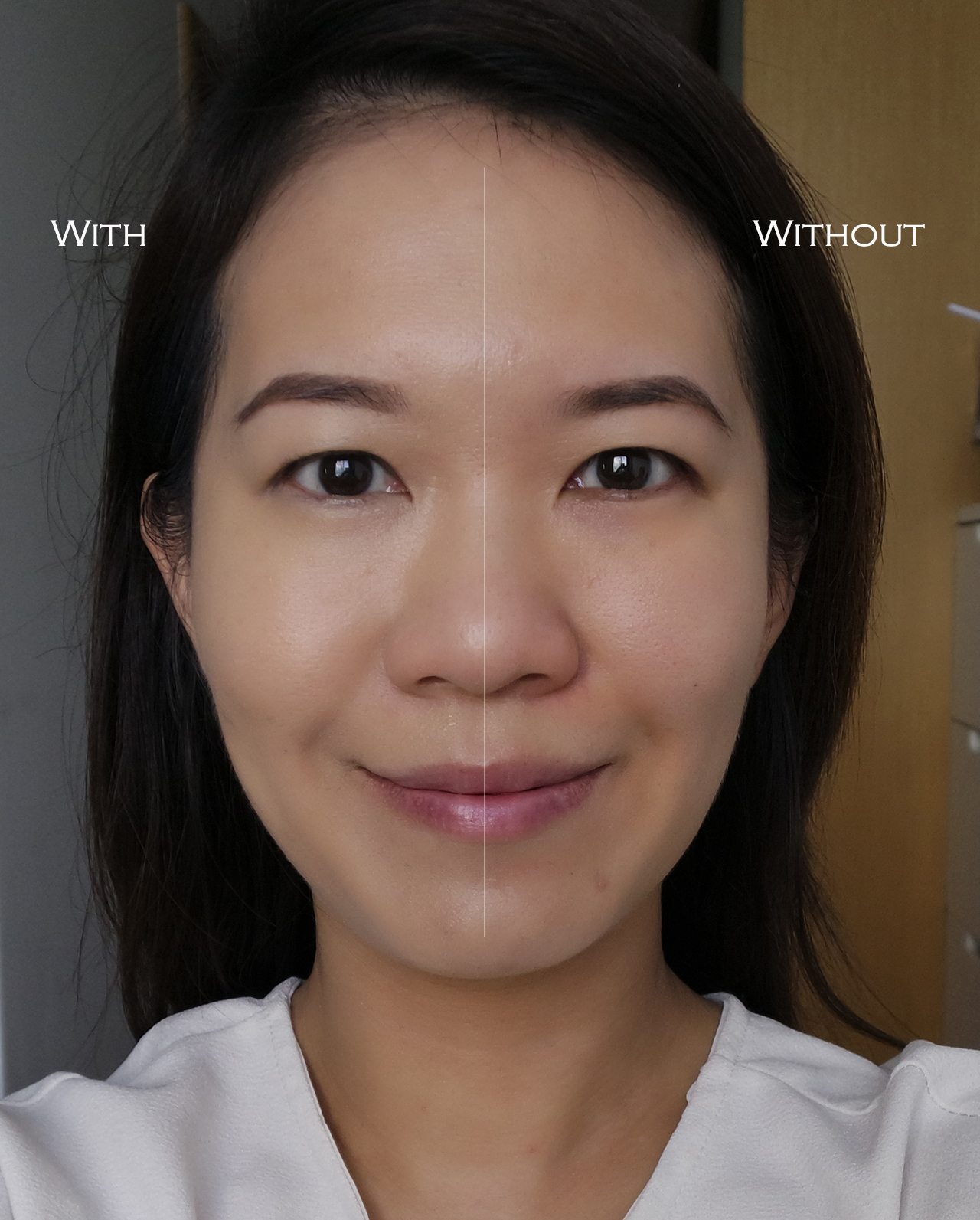 THREE Flawless Ethereal Fluid Foundation before after comparison