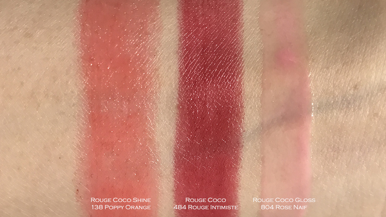 Chanel Rouge Coco 484, Rouge Coco Shine 138, Rouge Coco Gloss 804 swatches