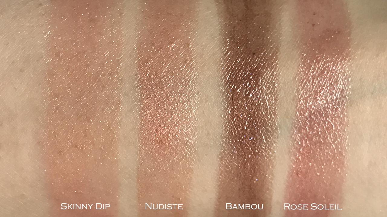 Tom Ford Lip Color Sheer Nudiste, Bambou swatch comparison against Skinny Dip, Rose Soleil