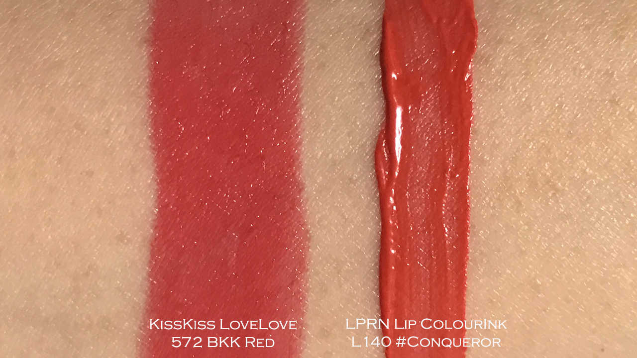 Guerlain KissKiss LoveLove 572, La Petite Robe Noir Lip Colour'Ink L140 swatches