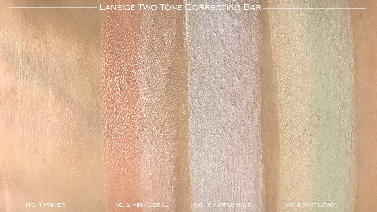 Laneige Two Tone Correcting Bar swatches