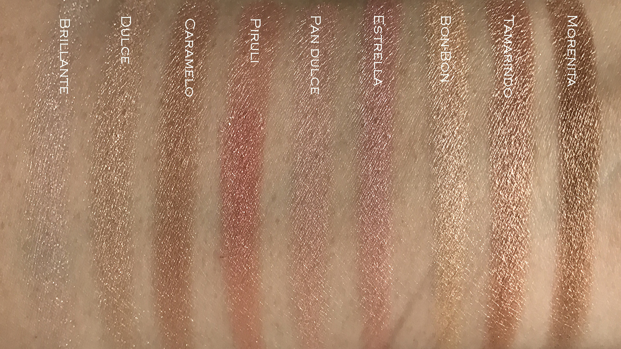 Pixi Cafe con Dulce Sweet Glow palette swatches
