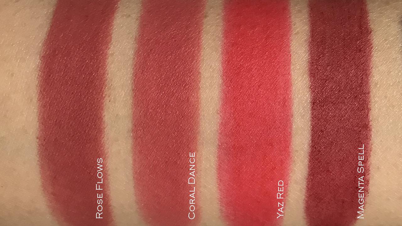 Yazbukey x Shu Uemura Rouge Unlimited Supreme Matte lipstick swatches