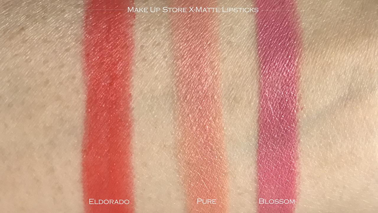Make Up Store X-matte Lipstick swatches