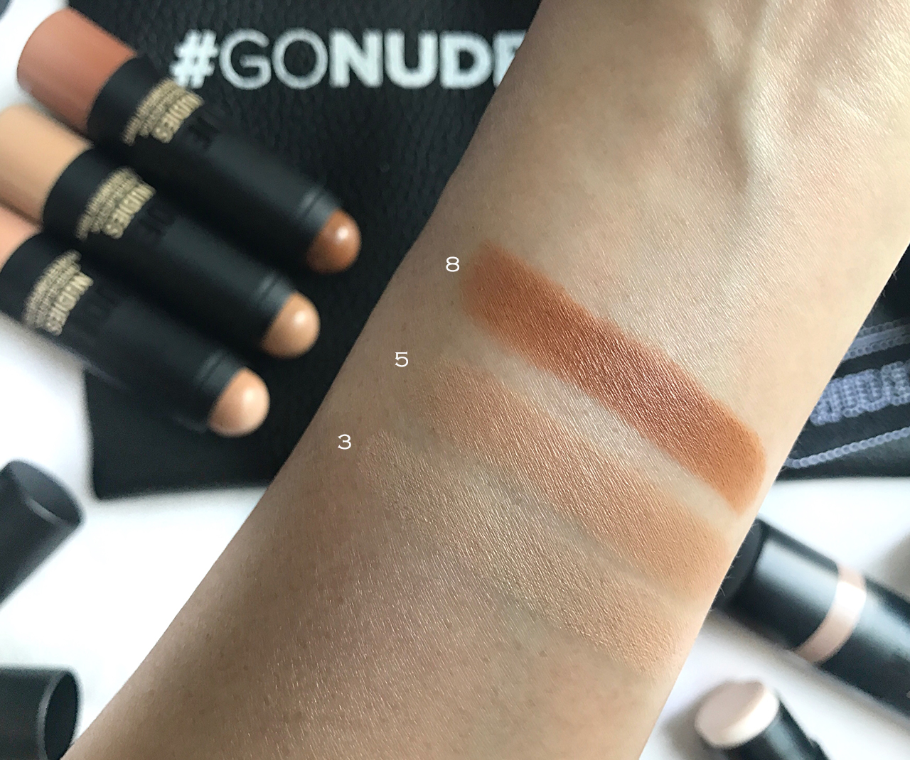 Nudestix Nudies Tinted Blur swatches 3,5,8