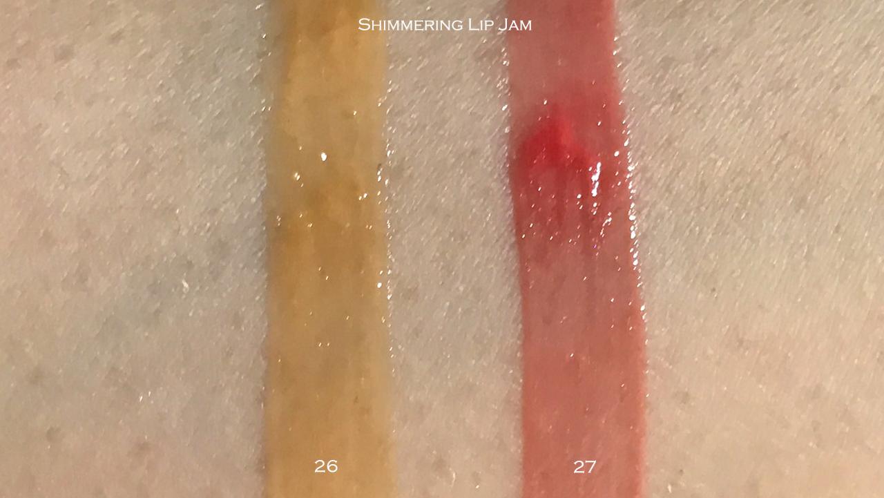 THREE Shimmering Lip Jam swatches