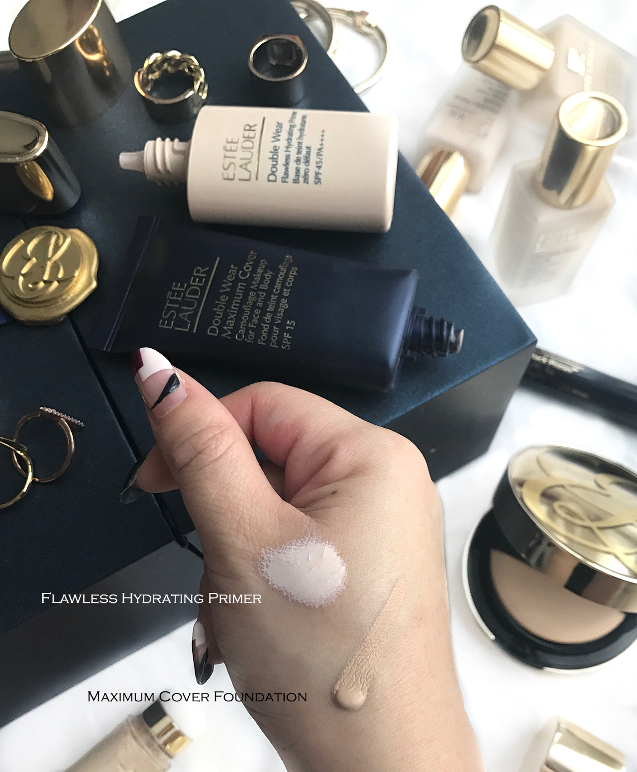 Estee Lauder Double Wear Flawless Hydrating Primer & Maximum Cover Foundation swatches
