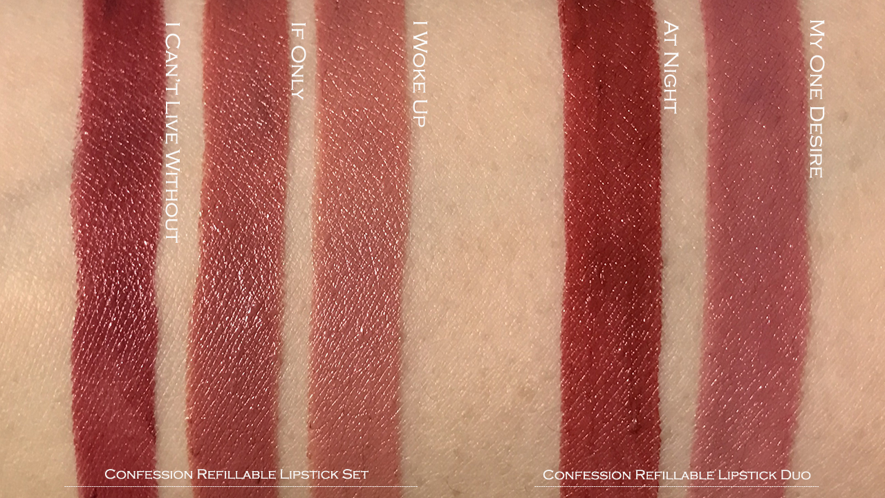 Hourglass confession lipsticks swatches