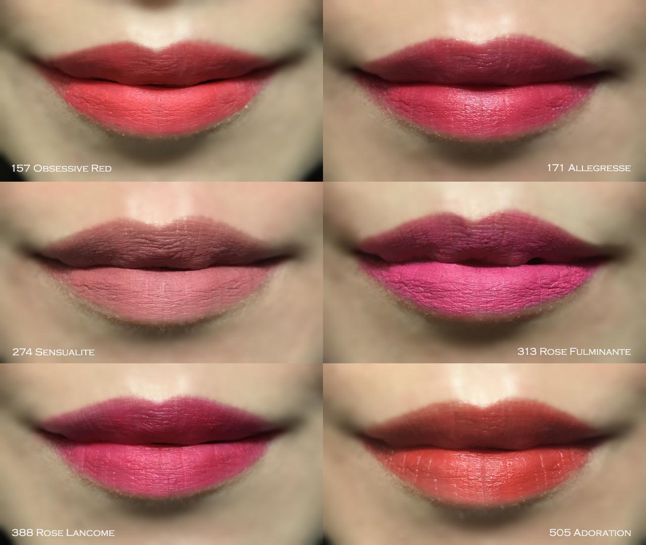 Lancome L'Absolu Rouge Drama Matte lip swatches