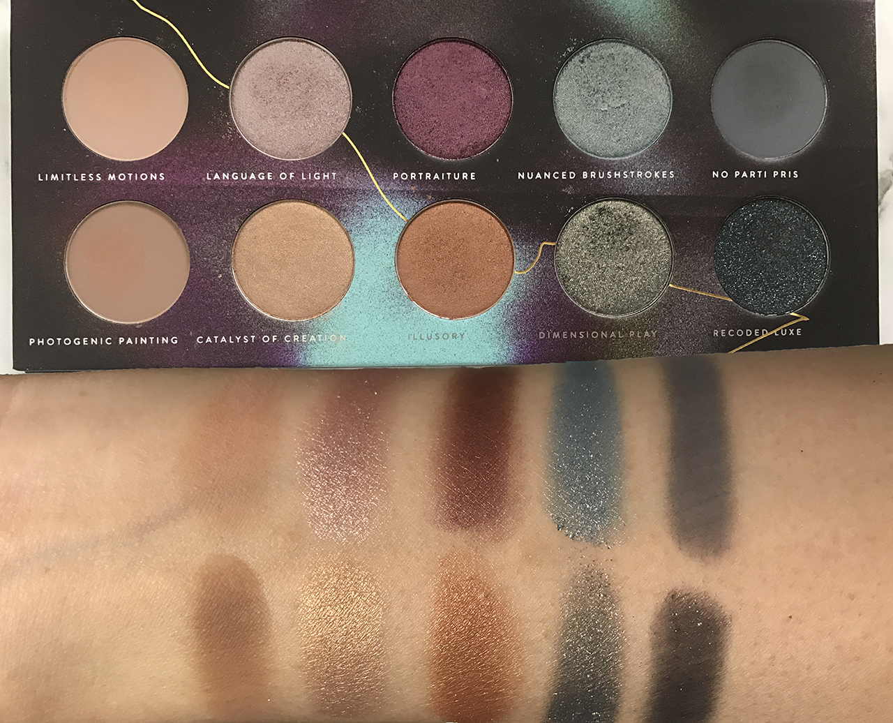Zoeva Eclectic Eyes Palette swatches