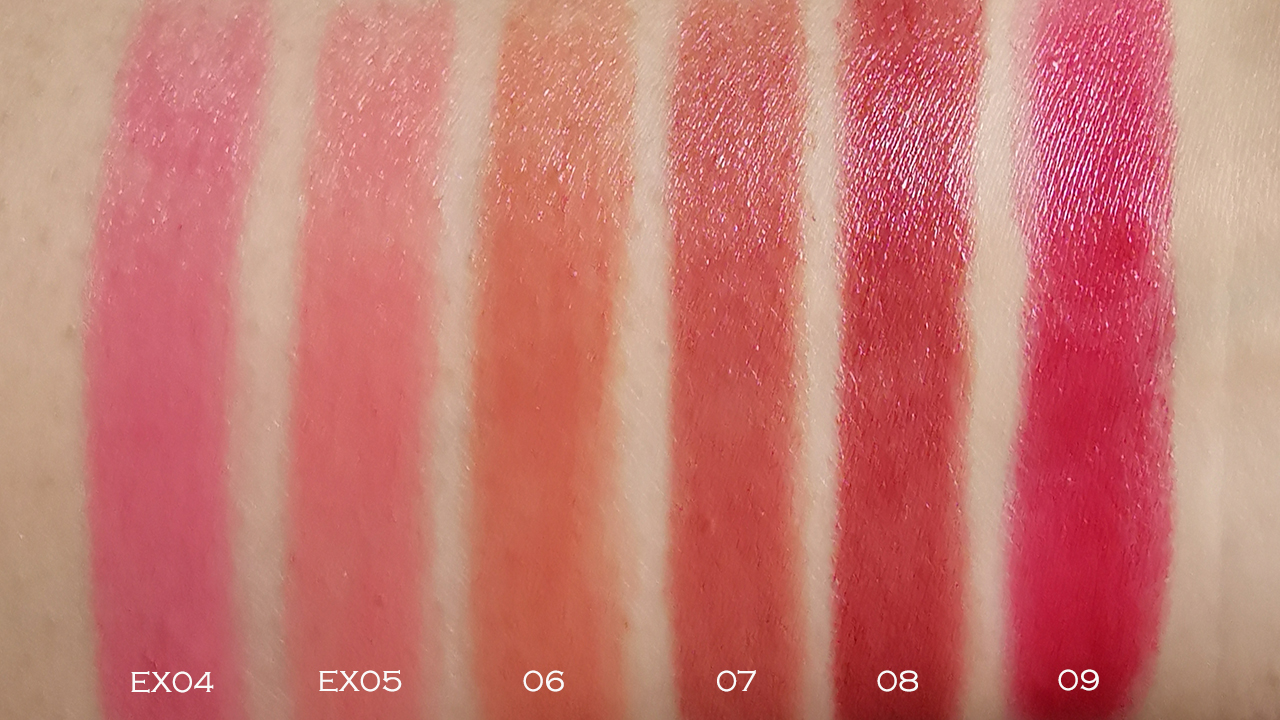 Lunasol AW2018 Airy Glow Lips swatches