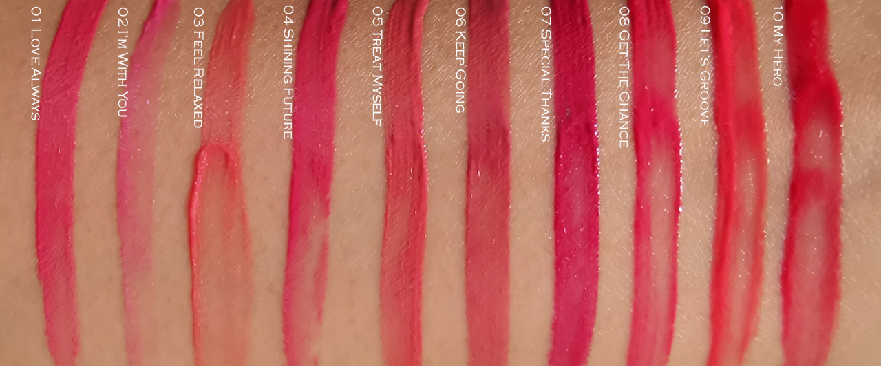 Kanebo Liquid Rouge swatches