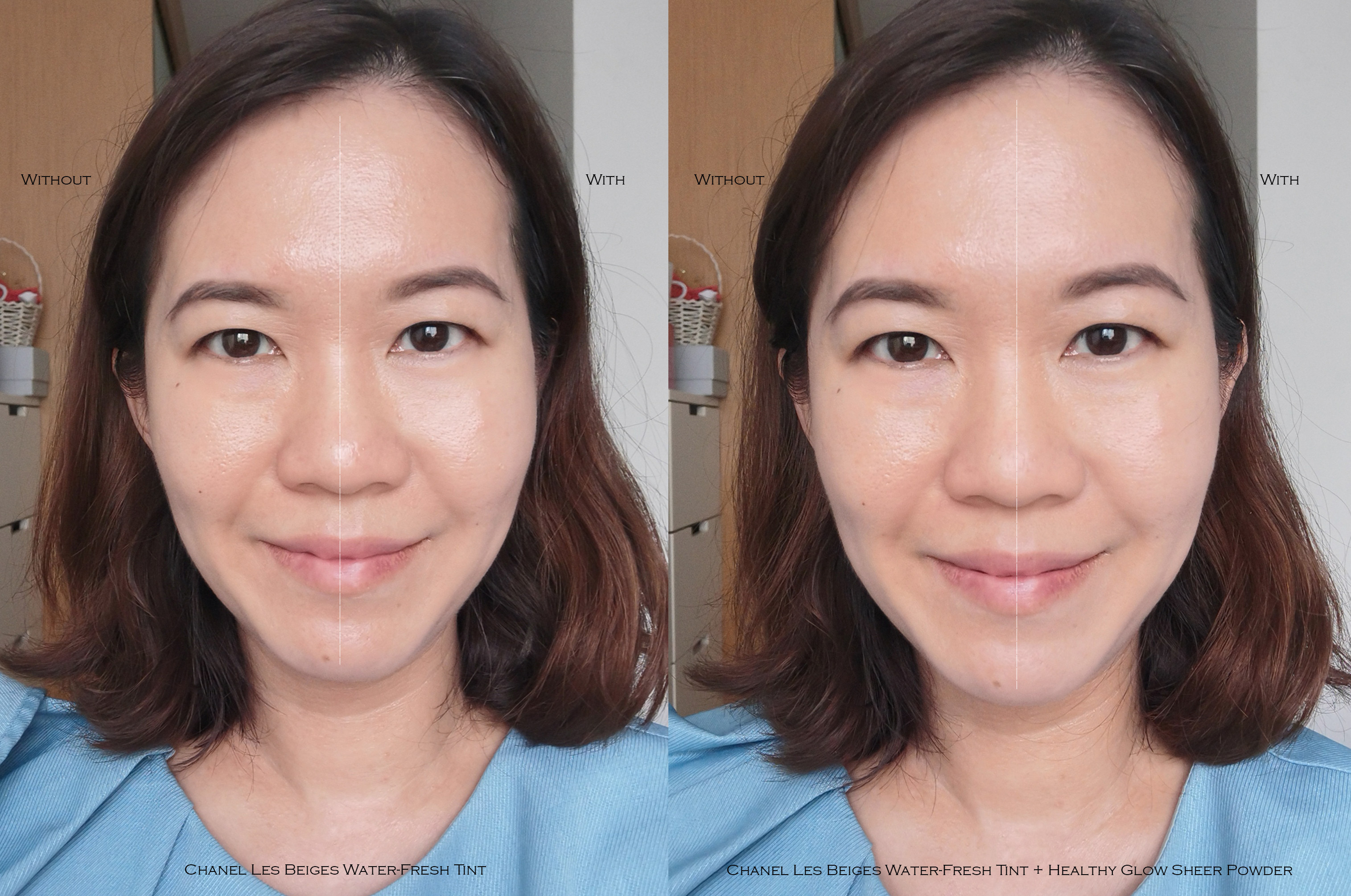 Chanel Les Beiges Water Fresh Tint & Healthy Glow Sheer Powder before after