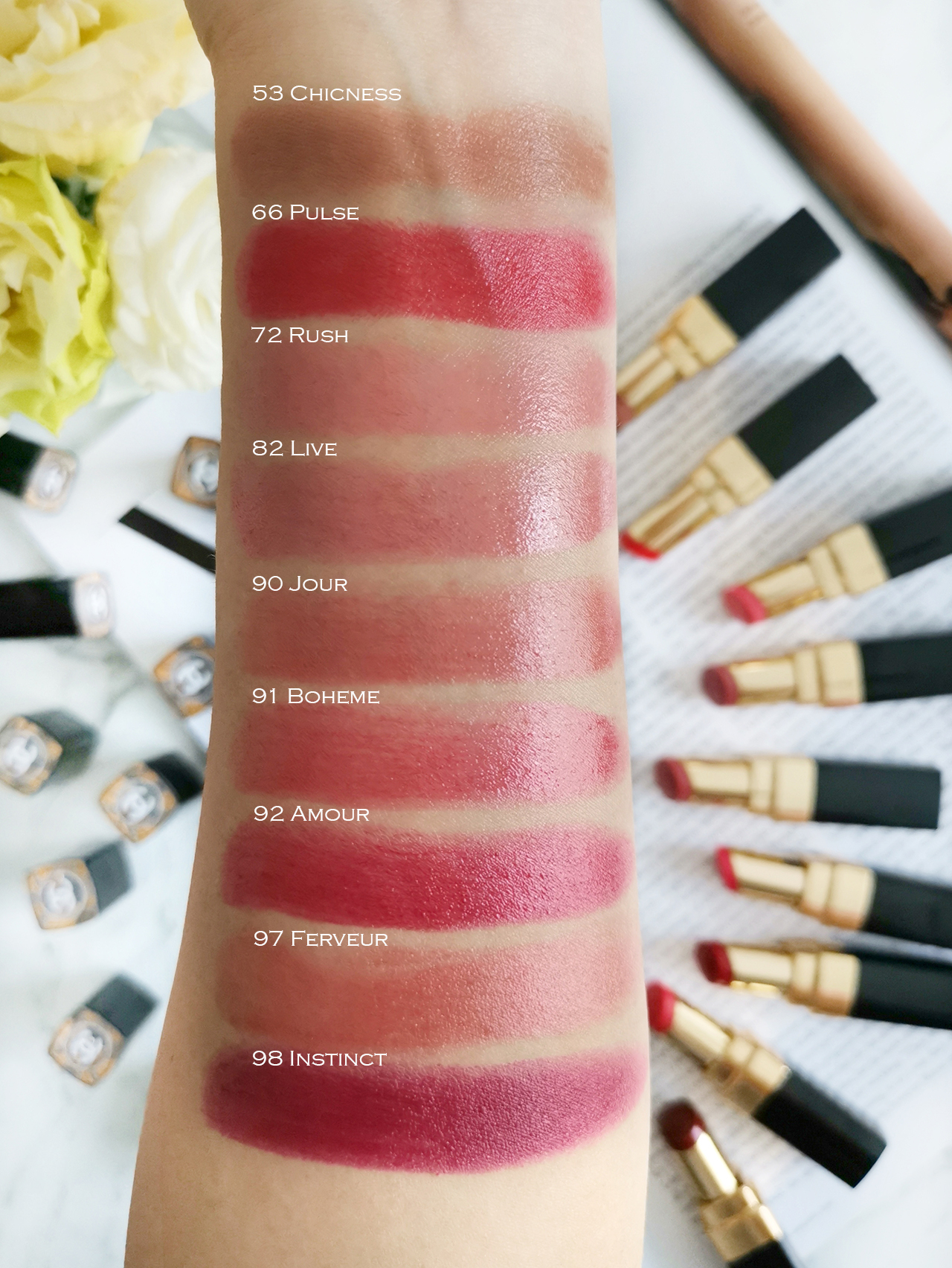 Chanel Coco Rouge Flash arm swatches