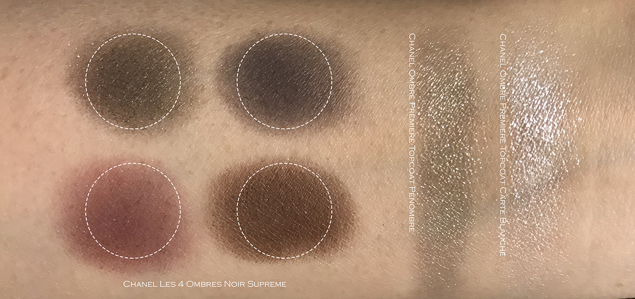 Chanel Noir Supreme, Penombre, Carte Blanche swatches