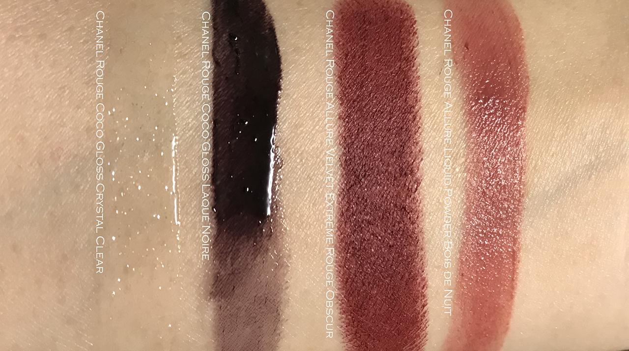 Chanel Crystal Clear, Laque Noire, Rouge Obscur, Bois de nuit