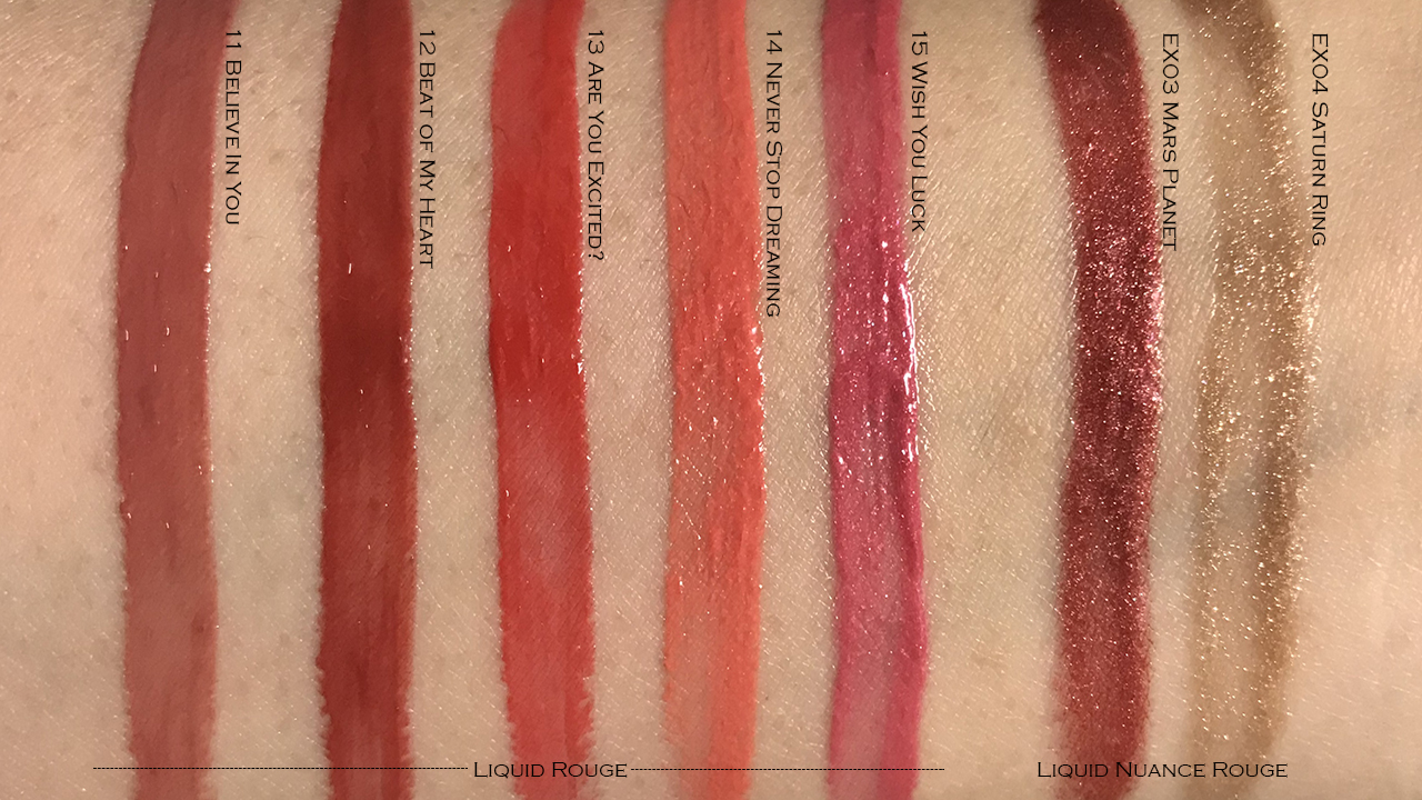 Kanebo AW2019 Liquid Rouge & Liquid Nuance Rouge swatches