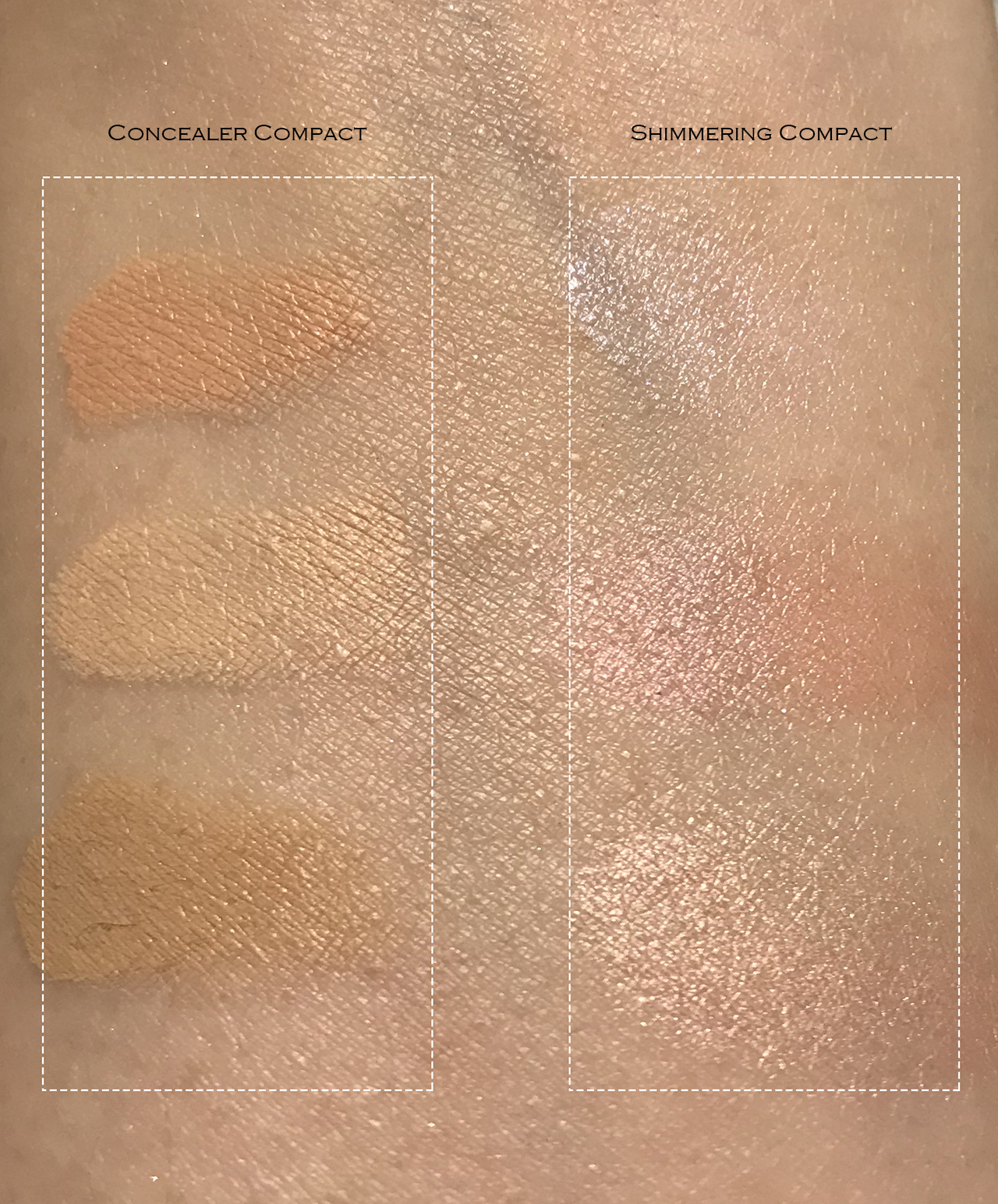 Kanebo Concealer & Shimmering Compact swatches