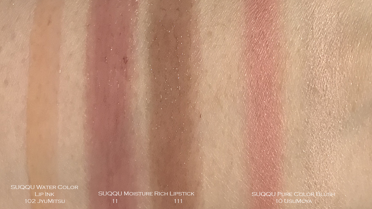 SUQQU AW2019 Pure Color Blush, Moisture Rich Lipstick, Water Color Lip Ink swatches