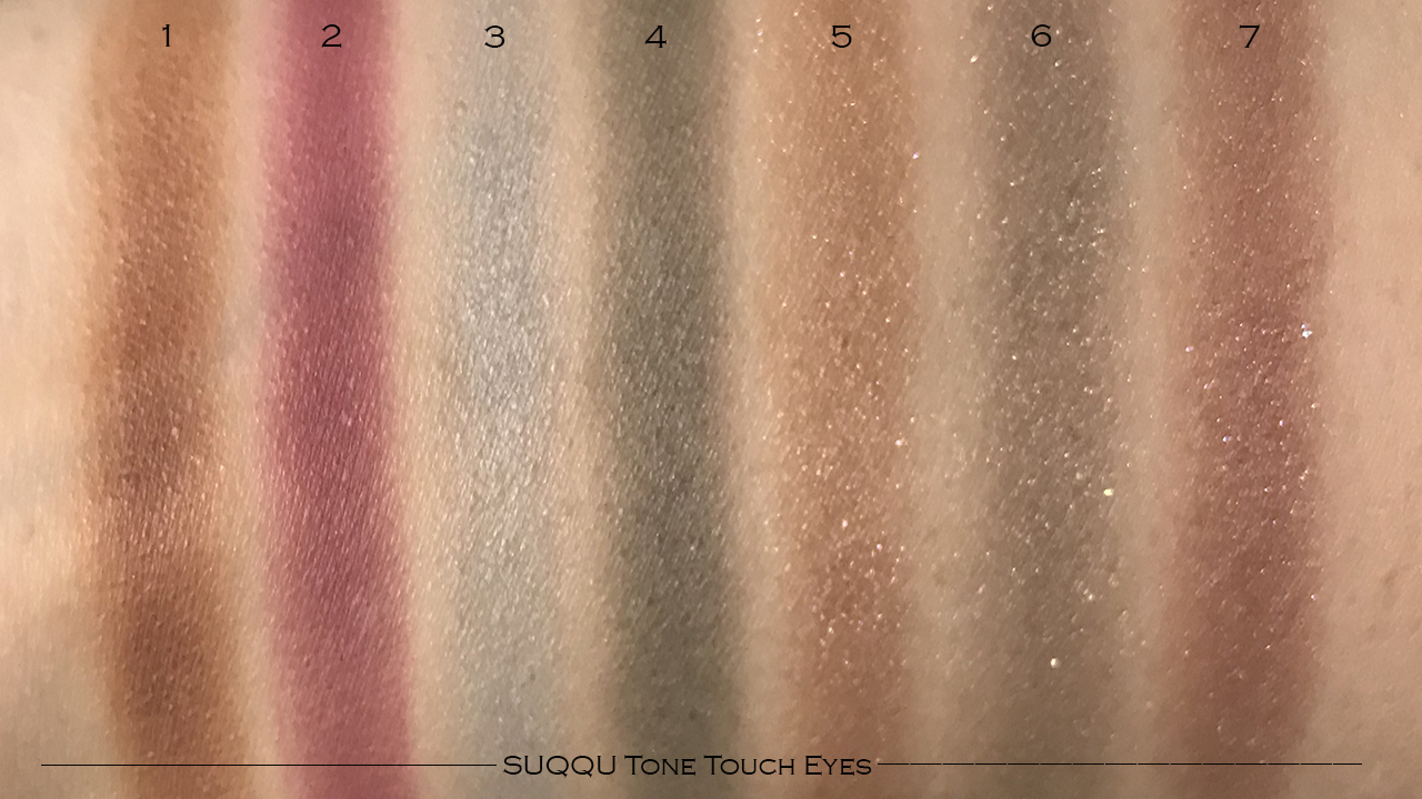 SUQQU Tone Touch Eyes swatches 1-7
