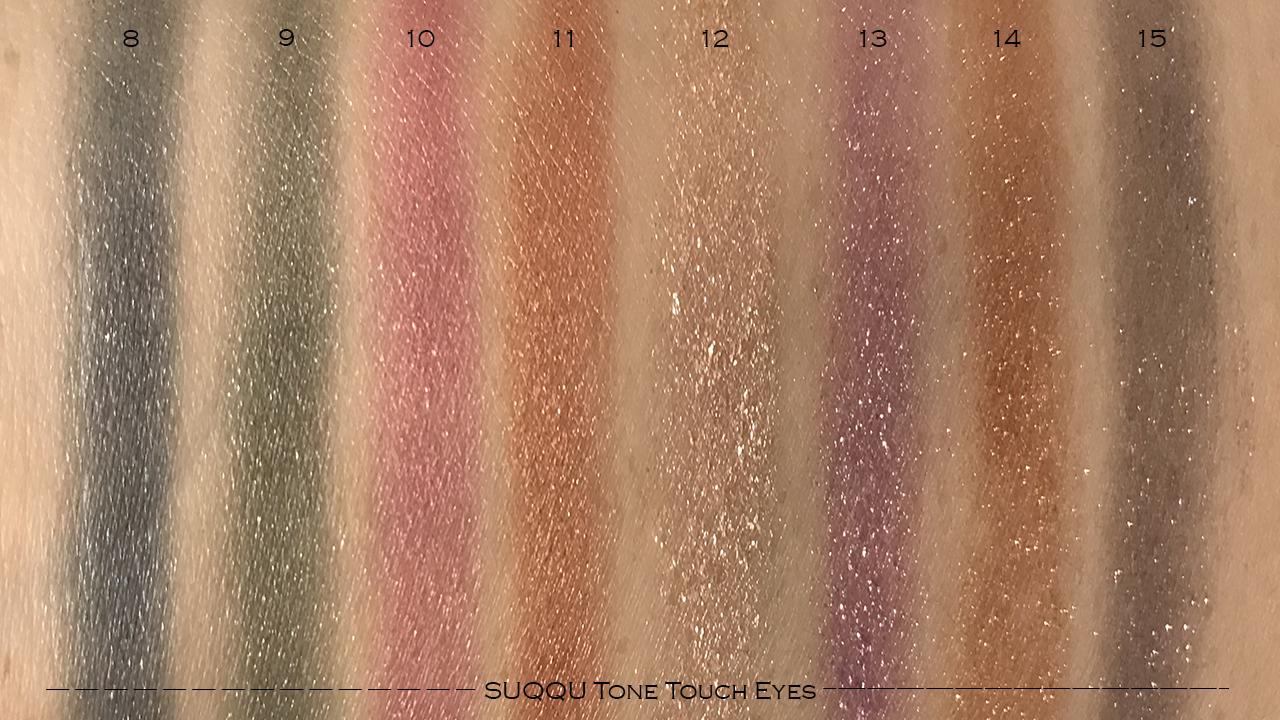 SUQQU Tone Touch Eyes swatches 8-15