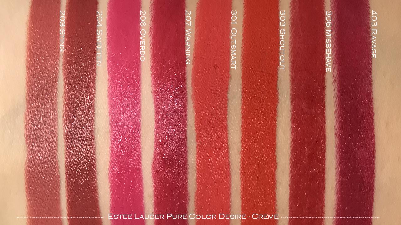 Estee Lauder Pure Color Desire Lipstick creme swatches