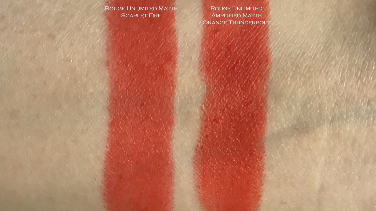 Shu Uemura Pokemon Rouge Unlimited swatches of Scarlet Fire, Orange Thunderbolt