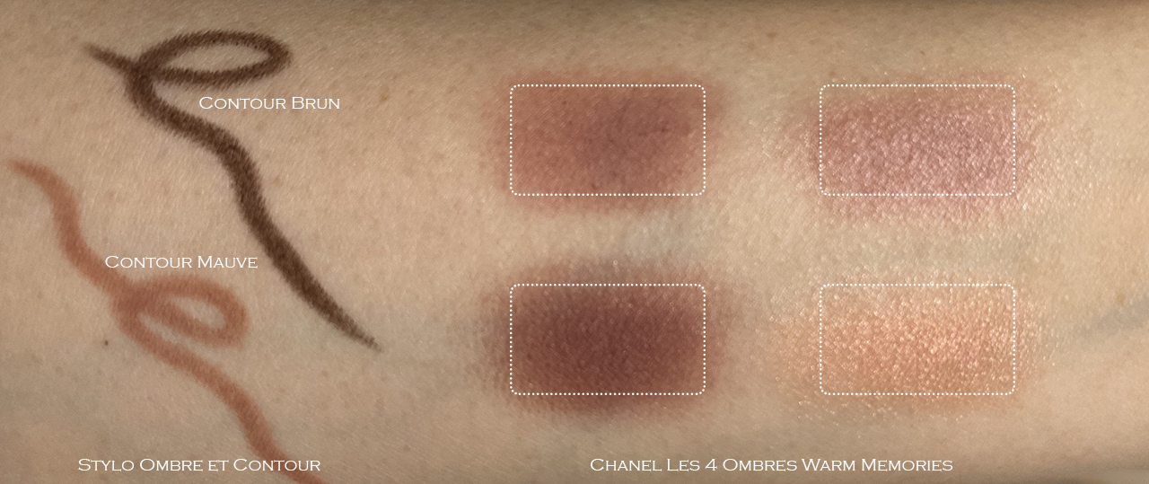 Chanel Warm Memories, Contour Brun, Contour Mauve swatches
