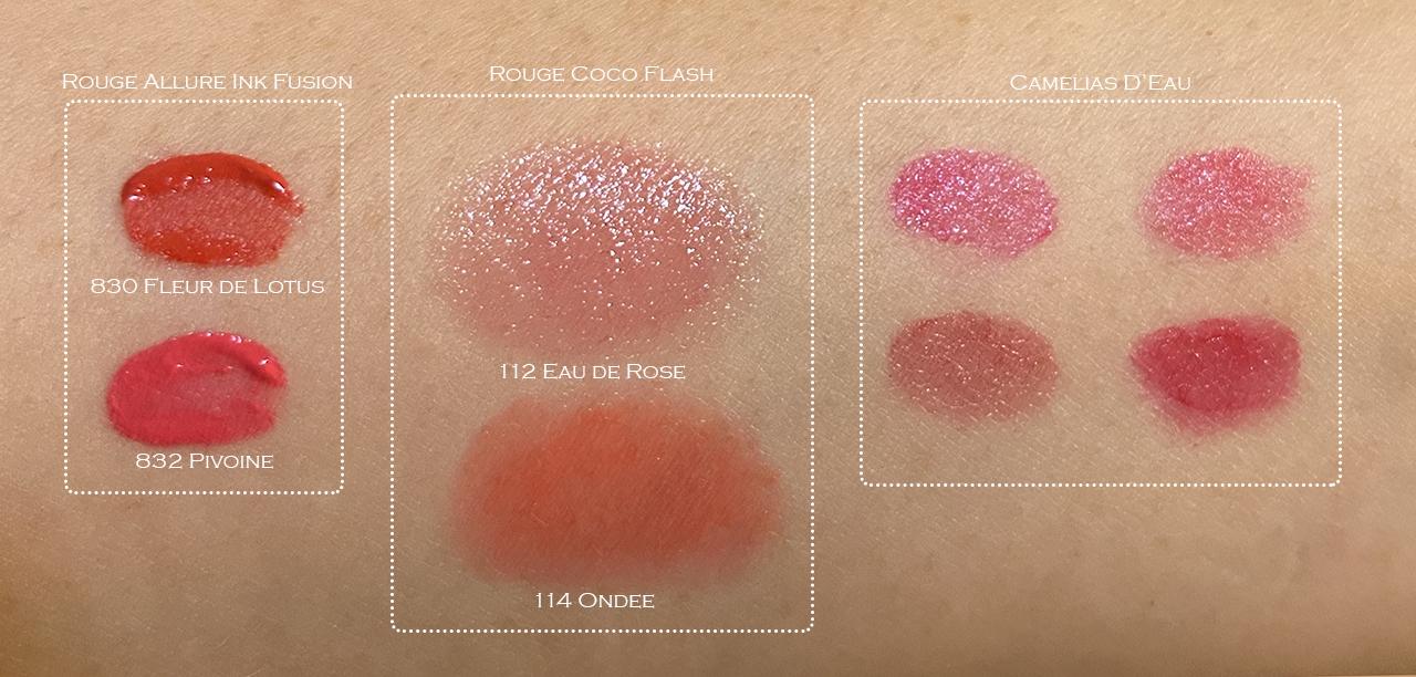Chanel La Fleur et Leau lip swatches